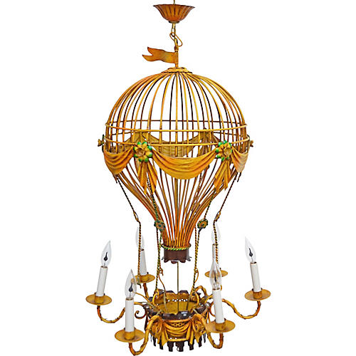French Tole Hot Air Balloon Chandelier