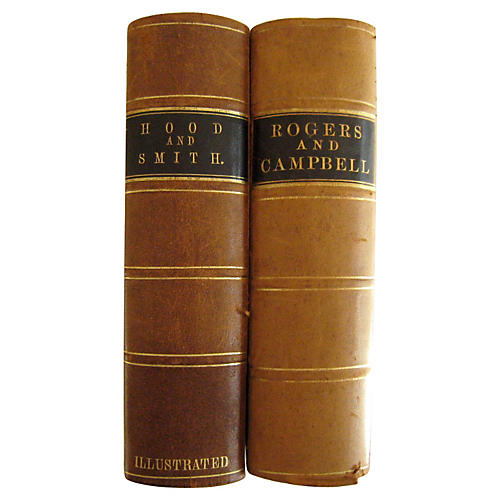 19th-C. Leather Poetry, S/2