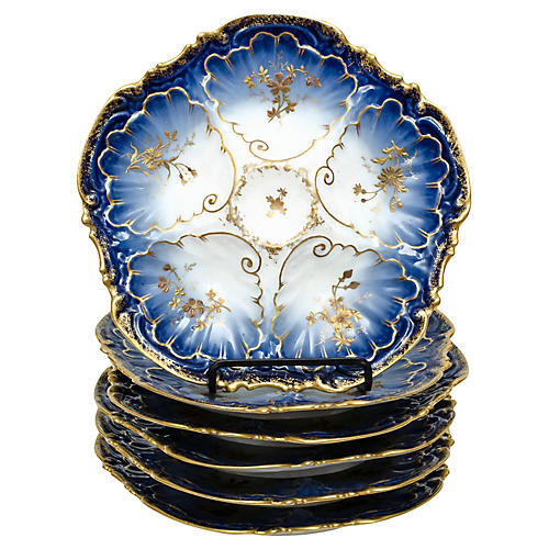 French Blue & Gold Oyster Plates, S/6